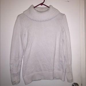 Nautical White Cowl Neck Sweater